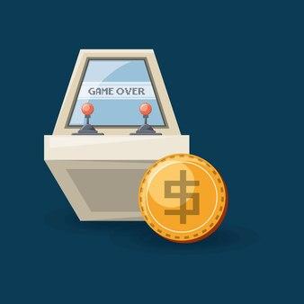 Ikona zręcznościowa maszyna wideo i monety ikona