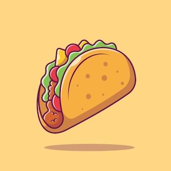 Ikona żywności meksykańskiej taco. kolekcja fast food. ikona jedzenie na białym tle