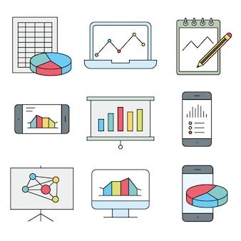 Ikony analizy, statystyki, wykresu, raportu i usługi