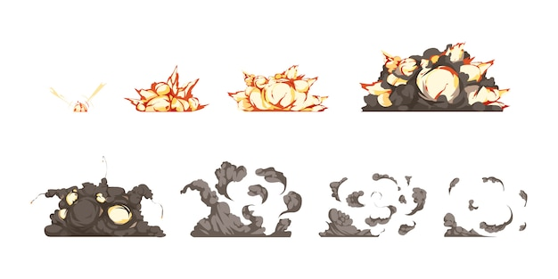 Ikony animacji procesu wybuchu bomby ustawione od detonacji do wybuchu ciepła i fal uderzeniowych