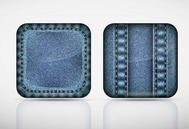 Ikony aplikacji denim. jeansy z fakturą