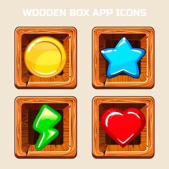 Ikony aplikacji drewniane pudełko