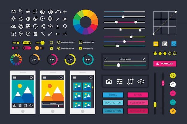 Ikony aplikacji edytora zdjęć fotograficznych elementy interfejsu użytkownika wektor kamery.