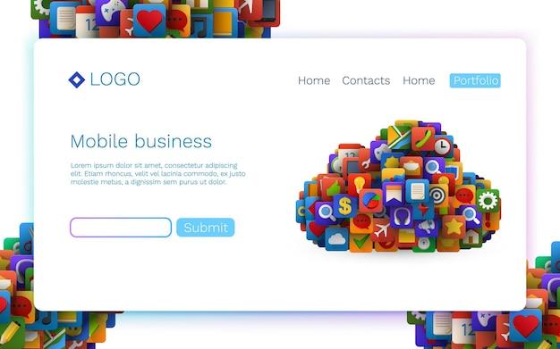 Ikony aplikacji w postaci znaku chmury. technologia mobilna. koncepcja strony docelowej.