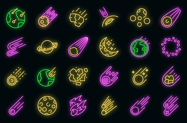 Ikony asteroidy wektor zestaw neon