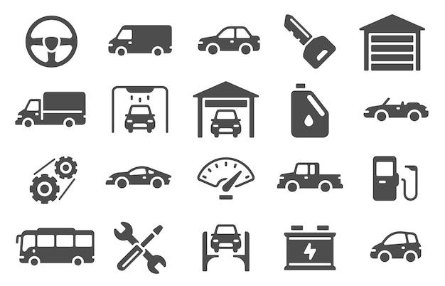 Ikony auto. sylwetki pojazdów i symbole serwisowe. części zamienne, naprawa samochodów i projektowanie myjni samochodowych dla sieci web, mobile i ui znaki wektor zestaw. ilustracja opony samochodowe, naprawa ikon samochodowych