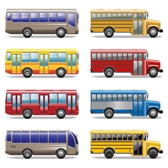 Ikony autobusowe wektor