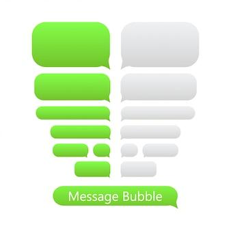Ikony bąbelków zielonej wiadomości na czacie.