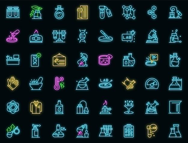 Ikony badań laboratoryjnych zestaw wektor zarys. nauka dna. chemia mikroskopowa