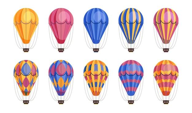 Ikony balonów podróży lotniczych w różnych wariantach kolorystycznych ustawiają płaską ilustrację