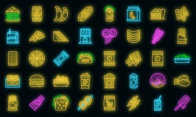 Ikony bar przekąskowy zestaw wektor neon