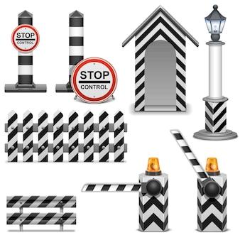 Ikony barier policyjnych na białym tle