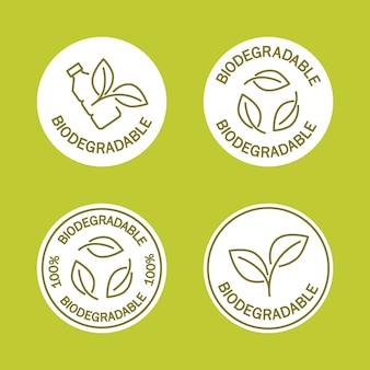 Ikony biodegradowalne ikona plastikowej butelki z zielonymi liśćmi zwraca się do koncepcji roślin