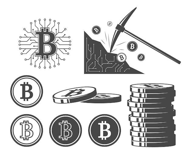 Ikony bitcoin, zestaw ilustracji wektorowych