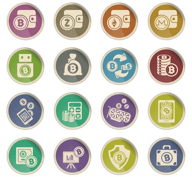 Ikony bitcoinów i kryptowalut w formie okrągłych papierowych etykiet