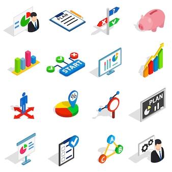 Ikony biznes planu w izometryczny styl 3d. strategia biznesowa zestaw ilustracji wektorowych na białym tle