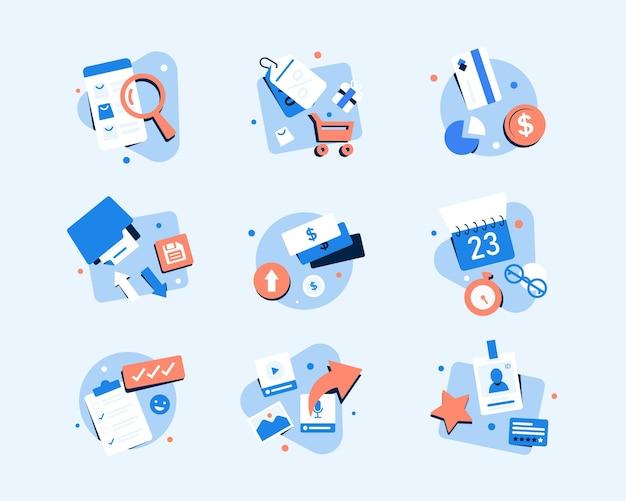 Ikony biznesu i finansówpłaska konstrukcja ikona ilustracja wektorowa