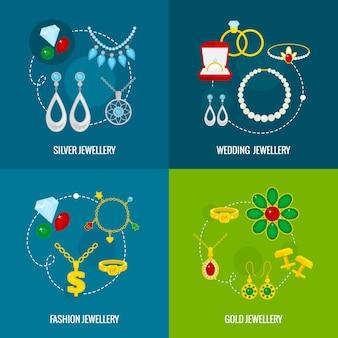 Ikony biżuteria płaski zestaw srebra złoto ślubu biżuteria mody izolowane ilustracji wektorowych