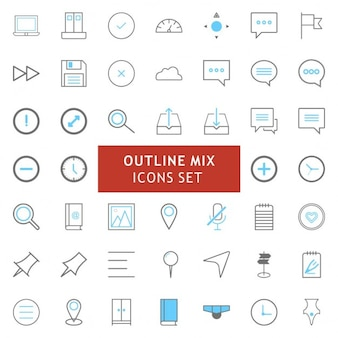 Ikony black and blue outline mix set