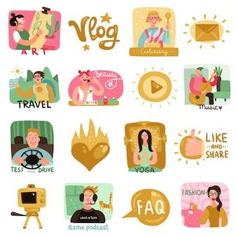 Ikony blogerów wideo z płaskimi symbolami kulinarnymi i podróżniczymi