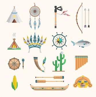 Ikony boho indian elementy tradycyjnej koncepcji i rodzimych plemiennych etnicznych piór kultury kultura ornament indyjski projekt ilustracja vintage ludzie aztec dekoracji