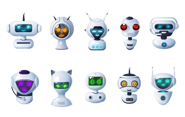 Ikony botów czatu, rysunkowe roboty, głowy cyborgów z cyfrowym blaskiem twarzy, mikrofony i anteny.
