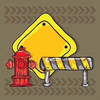 Ikony budowlane (hydrant z szyszkami drogowymi)