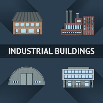 Ikony budynków przemysłowych i biznesowych