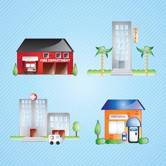 Ikony budynków ustawiają różne domy (zestawienie 2) na niebieskim tle