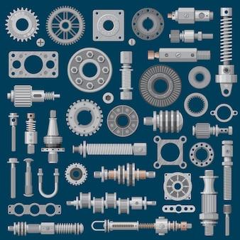 Ikony części maszyn, mechanizmy i koła zębate silników maszyn, wyposażenie przemysłu.