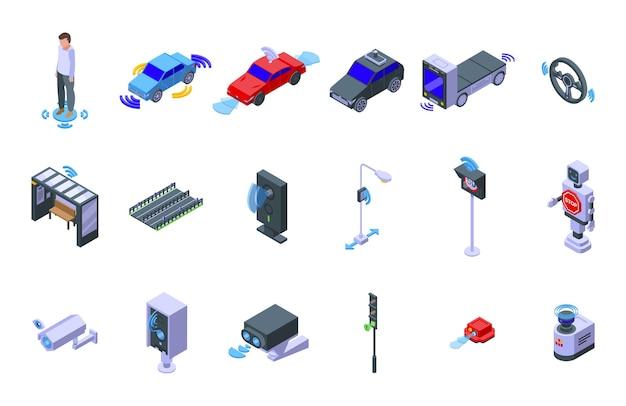 Ikony czujników drogowych zestaw izometryczny wektor. bezpieczeństwo na drodze. kontrola systemu