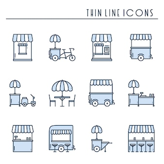 Ikony detalicznej żywności ulicy. furgonetka, kiosk, wózek, stoisko z targowiskiem na kółkach, mobilna kawiarnia