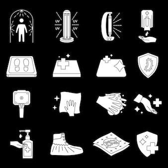 Ikony dezynfekcji czyszczenie i dezynfekcja powierzchni żel do mycia rąk lampa uv mata dezynfekująca inne