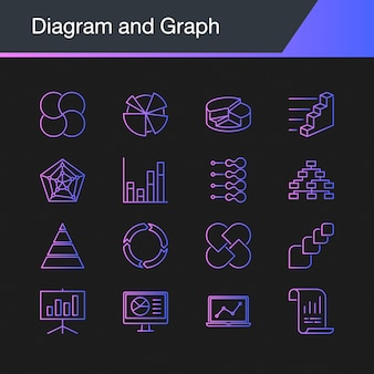 Ikony diagramu i wykresu.