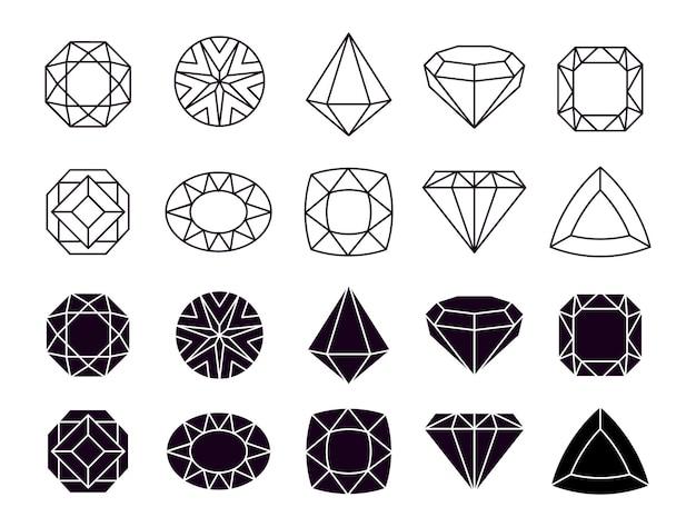 Ikony diamentów. geometryczne symbole biżuterii, kształtują luksusowe brylanty.