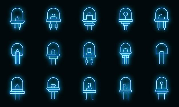 Ikony diody ustawiają wektor neon