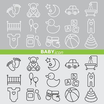 Ikony dla dzieci. zestaw liniowy.