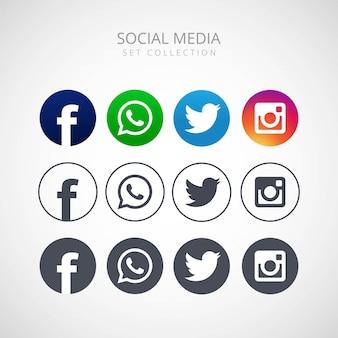 Ikony dla ogólnospołecznego networking wektorowego ilustracyjnego projekta