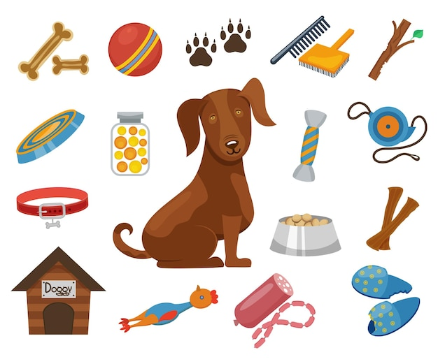 Ikony dla zwierząt domowych. obroża i miska dla psa, ilustracja budy dla psów