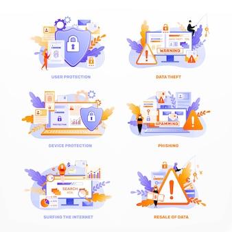 Ikony dnia prywatności danych kolorują płaskie kompozycje z edytowalnymi napisami tekstowymi, ostrzegają ikony blokady i tarczy