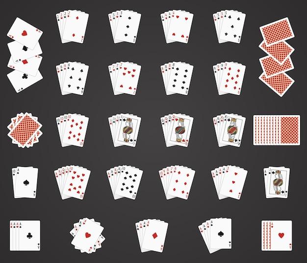 Ikony do gry w karty. zestawy kart do gry, karty do gry w pokera ręka i ilustracja talii kart do gry