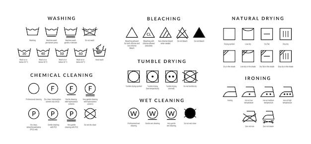 Ikony do pielęgnacji prania. symbole wskazówek dotyczących prania w pralce i ręcznie, rodzaj tkaniny bawełnianej do etykiet odzieży. ilustracje wektorowe symbolika opis prania