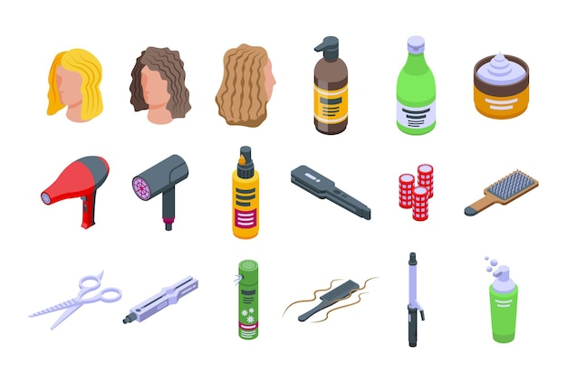 Ikony do pielęgnacji włosów kręconych zestaw izometryczny wektor. łupież włosów