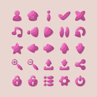 Ikony do projektowania interfejsu aplikacji i gier w kolorze różowym.