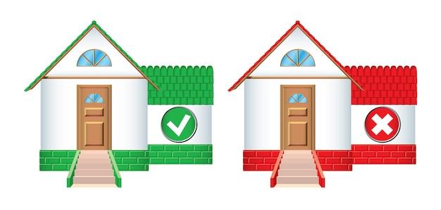 Ikony domów akceptowane i odrzucane