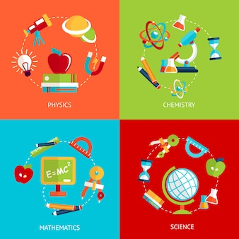 Ikony edukacji płaskie