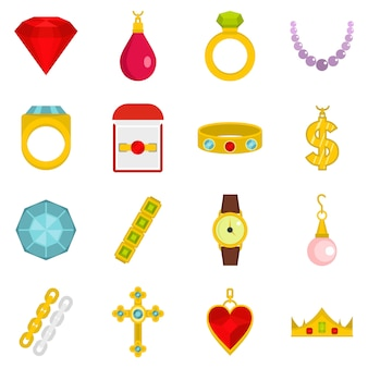 Ikony elementów biżuterii w stylu płaski