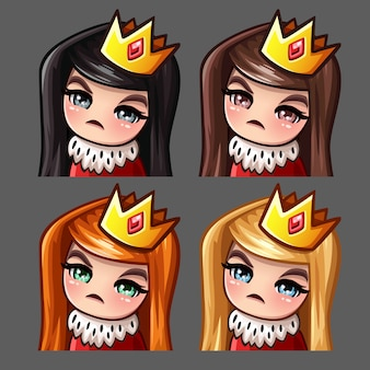 Ikony emocji królowa kobieta z długimi włosami dla sieci społecznościowych i naklejek