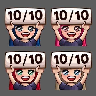 Ikony emocji szczęśliwe dziesięć na dziesięć kobiet z długimi włosami do sieci społecznościowych i naklejek