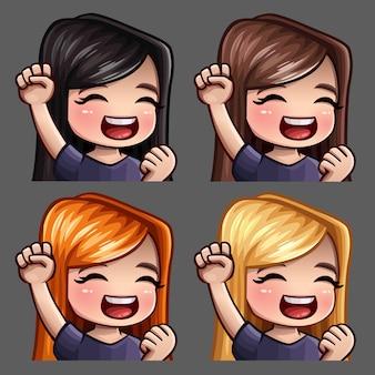Ikony emocji uśmiechają się szczęśliwe kobiety z długimi włosami do sieci społecznościowych i naklejek